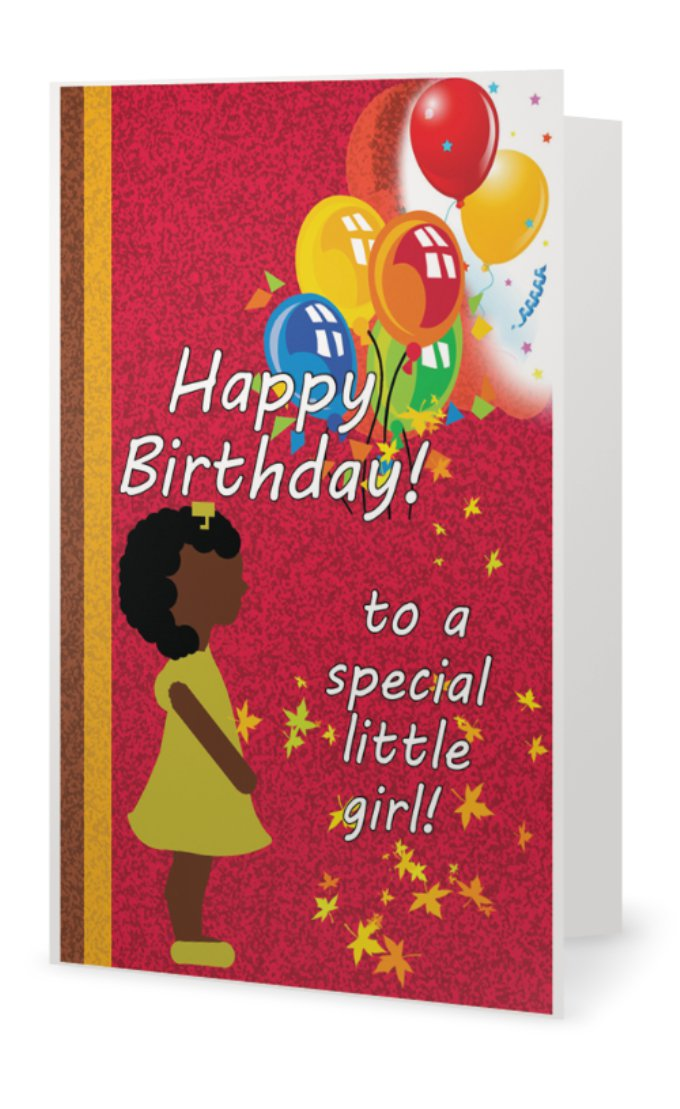 Kids Birthday Card Little Girl Black Greeting Cards L African