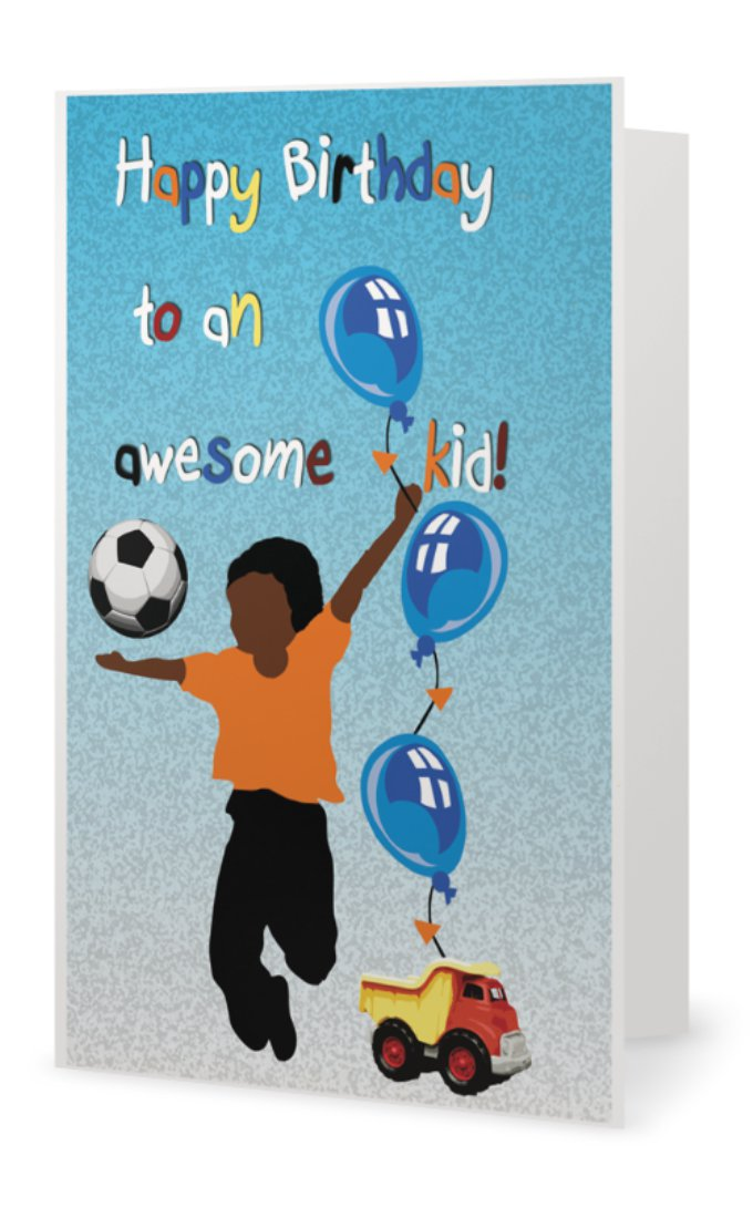 Kids Birthday Card Little Boy Black Greeting Cards L African